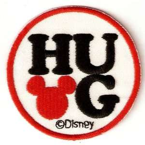Mickey Mouse HUG   Red Mickey Ears Disney Embroidered Iron On / Sew On