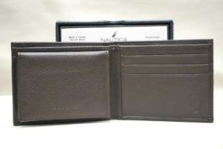 NAUTICA MENS BROWN LEATHER BIFOLD PASSCASE VALET WALLET