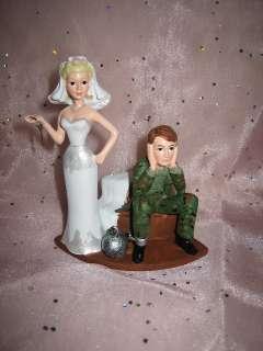 HUMOROUS WEDDING BALL CHAIN CAMO DEER HUNTING CAKE TOPPER