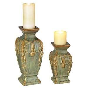 Set of Two Yellow Green Ceramic Pillar Candleholders
