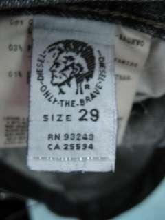 DIESEL INDUSTRY Very Dark Button Fly Denim Jeans Sz 29