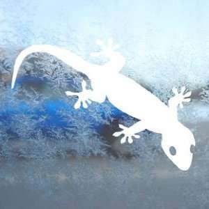 Gecko White Decal Car Window Laptop Vinyl White Sticker
