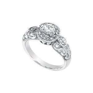 Gorgeous Womens 14k White gold Moissanite And Diamond Ring