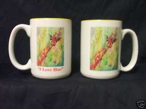 SET 2 GIRAFFE I LOVE HUE ART DESIGNED COFFEE MUGS CUPS