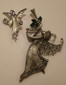 TWO VTG XMAS ANGEL RHINESTONE PINS JJ & GIUSTI BROOCHES