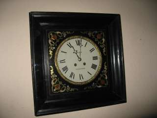 ANTIQUE FRENCH VINEYARD BRASS & COLOURED STONE INLAY 8 DAY WALL CLOCK