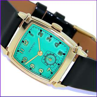 1941 Vintage Reyco Swiss DeCo GReEn EMerald Mens gold WWII Watch