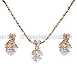 18K Gold Plated Swarovski Crystal Jewelry Set 213318