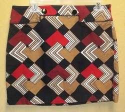 Ann Taylor petites black mod print cotton skirt 10P pm