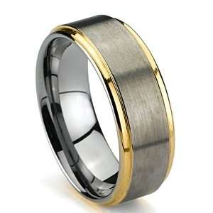 Mens Wedding Band, Gold Plated Tungsten Ring, High Polish Edge, Brush
