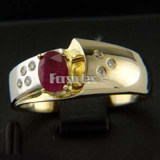 Natural Ruby Diamonds 14k Solid Gold Mens Ring r00229