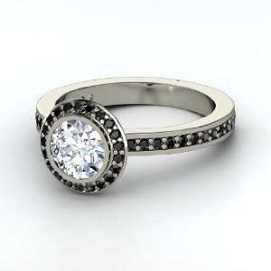 Roxanne Ring, Round Diamond 14K White Gold Ring with Black