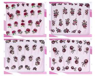 Packs 3D Nail Art Stickers Decals Floral Flower Design Set #08