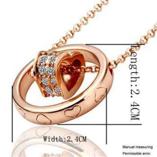 N99 18K rose Gold plated white gem Swarovski crystal heart Necklace