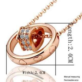 N99 18K rose Gold plated white gem Swarovski crystal heart Necklace