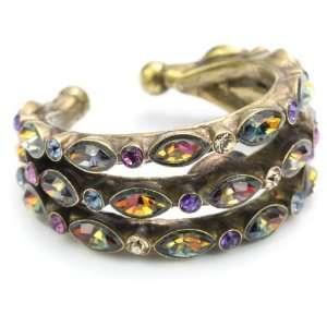 Sorrelli Aurora Sky Multi Crystal Petal Band Gold Tone Ring Jewelry