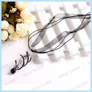 Black Murano Lampwork Glass Swirl Spiral Bead Pendant