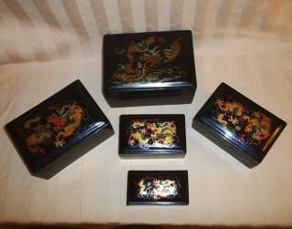 Antique Soochow China Lacquer Ware Dragon 5 Nesting Boxes Hand Painted