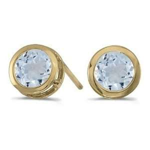 Bezel Set Round Aquamarine Stud Earrings 14k Yellow Gold