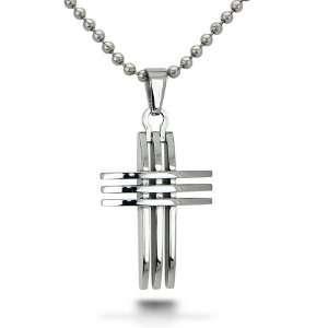 Steel Cross Pendant on 22 Inch Bead Chain West Coast Jewelry Jewelry