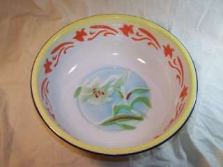 Enamelware Enamel Ware Hand Painted Wash Bowl Kitchenware Cookware