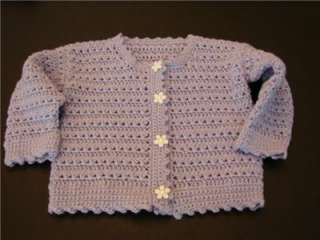 NEW HANDMADE SOFT CROCHETED LAVENDER BABY GIRL DOLL SWEATER 12 MO