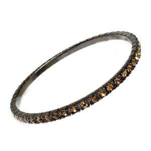 Gunmetal & Gold Crystal Bangle/bracelet Jewelry