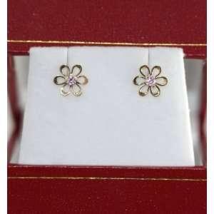 14K Yellow Gold heart shape pink flower Stud Earrings