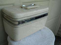 Vintage Cream Marble Hard Shell Luggage Train Case 14x8x9 Clean Inside