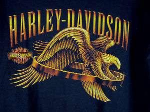 vtg Harley Davidson logo motorcycle biker Tee shirt Gold eagle emblem