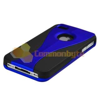 Blue 3 PIECE HARD CASE COVER+2 Protector FOR iPHone 4 4S G