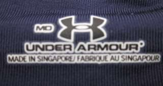 UNDER ARMOUR BLUE STRIPED MENS POLO TOP SHIRT POLYESTER NYLON SIZE