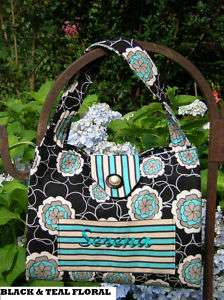 Monogrammed Quilted Bible Cover BLACK & TEAL FLORAL