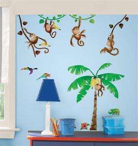 New MONKEY WALL DECALS Kids Stickers Monkies Decor 034878119250
