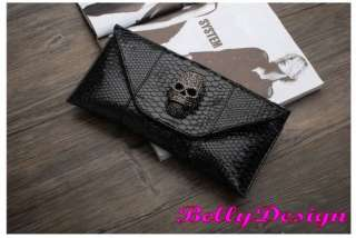New Crystal Skull Snake Skin Faux Leather Clutch Purse Evening Handbag