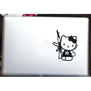 Hello Kitty with Machine Gun   Apple Macbook Laptop Decal