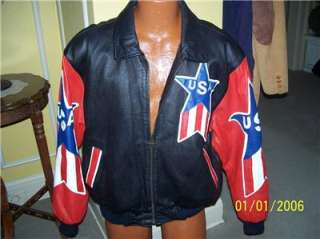 Patriotic USA Jacket AMERICAN FLAG Embroidered Leather Michael Hoban