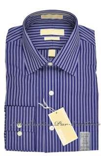 New Mens MICHAEL KORS No Iron Cotton Dress SHIRT Navy BLUE stripe