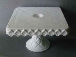 VTG WHITE MILK GLASS SQUARE CAKE PLATE STAND w RUM WELL HOLE ANTIQUE