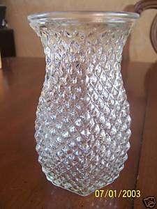 HOOSIER GLASS VASE DIAMOND POINT 5 1/2 TALL