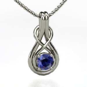 Infinity Knot Pendant, Round Sapphire Platinum Necklace