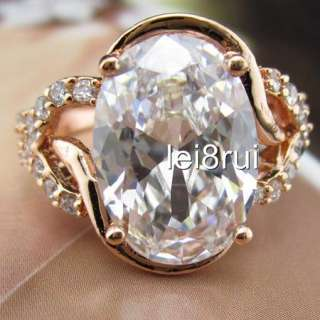 Fashion Jewelry 18k Rose gold filled womens Swarovski crystal GF Ring