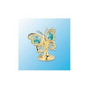 24K Gold Plated Mini Butterfly Free Standing   Green