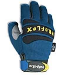 Ergodyne 712 Pro Flex Mechanics ¾ Finger Gloves Blue Gray Black X