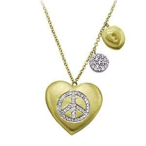Meira T Puffed 14K Yellow Gold Heart embossed with pave set Diamond