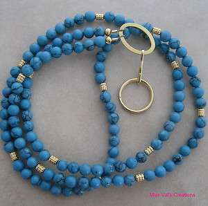 Handcrafted turquoise and gold lanyard badge ID holder