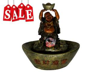 Lucky Buddha w/ Color LED lights Indoor Water Fountain