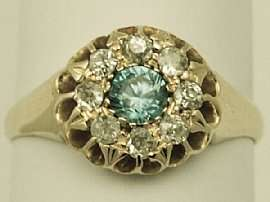 ct Diamond and Blue Zircon Yellow Gold Dress Ring   Antique George V