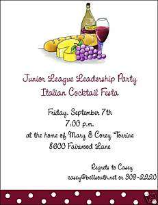 Italian Wine and Cheese Dinner Party Invitations