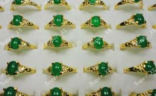 wholesale jewelry lots 50pcs Malay Jade gold plated rings new free